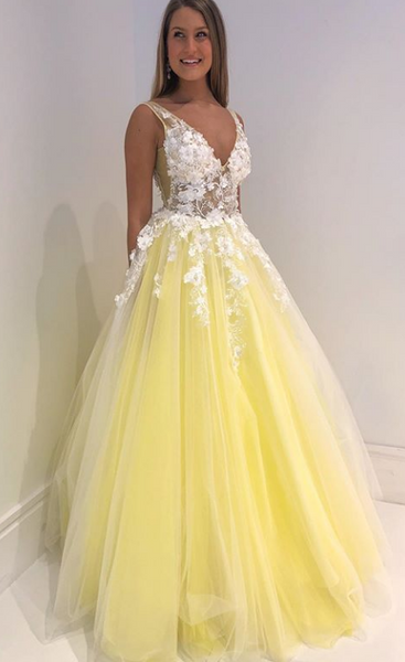 2020 V-neck Prom Dresses With Applique and Beading , Long Prom Dress ,Fashion School Dance Dress Formal Dress PDP0686