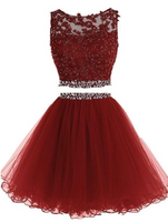 Two Pieces Homecoming Dress with Applique and Beading, Popular Short Prom Dress  PDH0044