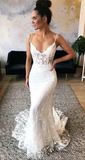 Mermaid Spaghetti Straps Beach Wedding Gowns Sexy V Neck Lace Wedding Dress ,Fashion Custom made Bridal Dress PDW044