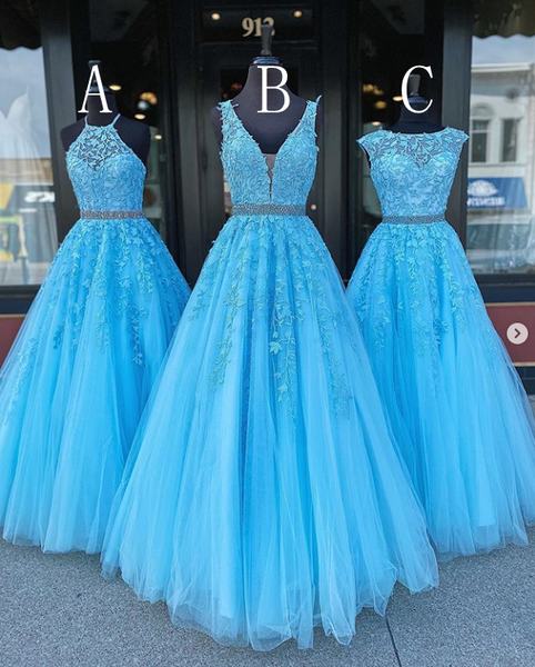 Grad Dresses Long with Applique and Beading, Prom Dresses Long ,School Dance Dress,Formal Dress PDP0731