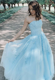 2020 Ball Gown Long Prom Dress With Applique and Beading,Fashion School Dance Dress Sweet 16 Quinceanera Dress PDP0734