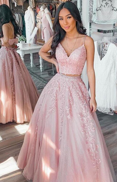 2021 Two Pieces Long Prom Dresses with Appliques Fashion Formal Dress PPS077