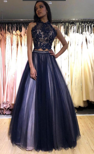 2021 Two Pieces Long Prom Dress with Appliques and Beading ,School Dance Dresses ,Fashion Winter Formal Dress PPS088