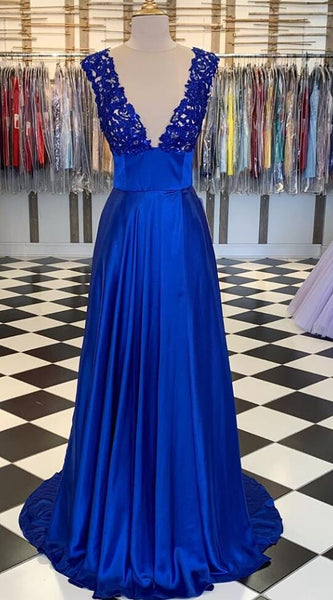 Deep V-neck Sexy Long Prom Dress with Appliques ,School Dance Dresses ,Fashion Winter Formal Dress PPS117