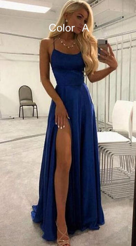 2021 Simple A-line Lace up Back Long Prom Dresses with Slit Fashion Formal Dress BP009