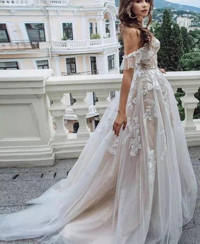 Off Shoulder Tulle/Lace Beach Wedding Dresses ,Fashion Custom made Bridal Dress PDW064