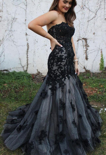 Strapless Mermaid Long Prom Dresses with Appliques Winter Formal Dresses,Evening Dresses PPS147