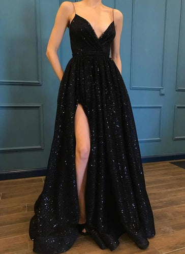 Black Sequins Side Slit A line Spaghetti Straps Long Prom Dresses Winter Formal Dresses,Evening Dresses PPS143