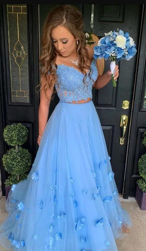 Blue Pretty Off the Shoulder Lace Two Piece Long Prom Dresses Winter Formal Dresses,Evening Dresses PPS144