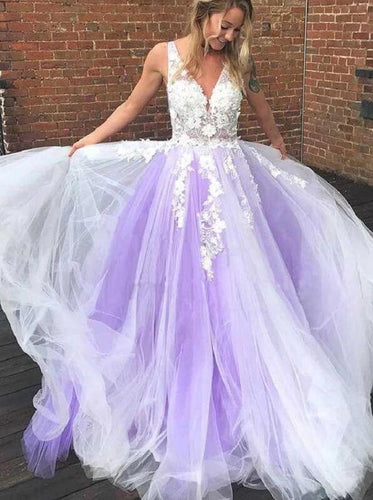 Lavender Tulle Princess Plunge V neck Long Prom Dresses Winter Formal Dresses,Evening Dresses PPS146