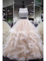 Open Back Two Pieces Long Prom Dress With Beading,Fashion School Dance Dress Sweet 16 Quinceanera Dress PDP0379