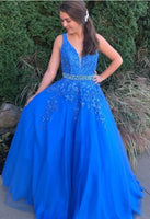 2020 Prom Dresses with Applique and Beading , Long Prom Dress ,Fashion School Dance Dress Formal Dress PDP0675