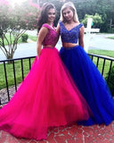 V-neck Two Pieces Long Prom Dress with Beading,Fashion School Dance Dress PDP0139
