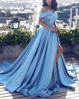 Off shoulder Long Prom Dress with Slit Fashion School Dance Dress Sweet 16 Quinceanera Dress PDP0377