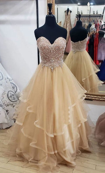 Sweetheart Ball Gown Long Prom Dress with Beading,Fashion Dance Dress,Sweet 16 Dress PDP0248