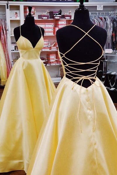 Yellow Simple Long Prom Dresses with Lace up Back 8th Graduation Dress School Dance Winter Formal Dress PDP0500