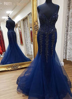 Mermaid Long Prom Dress With Applique and Beading,Fashion Winter Formal Dress PDP0156
