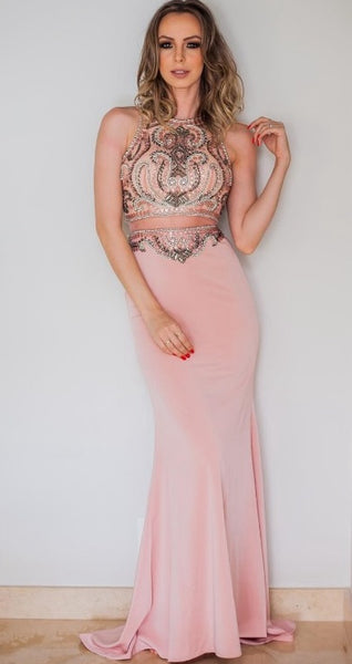 Beaded Two Pieces Long Prom Dresses Fashion School Party Dress Winter Dance Dress PDP0388