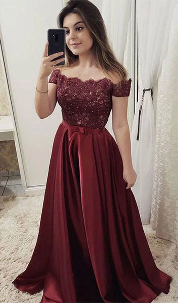 Off Shoulder Long Prom Dresses with Applique and Beading Fashion School Party Dress Winter Dance Dress PDP0389