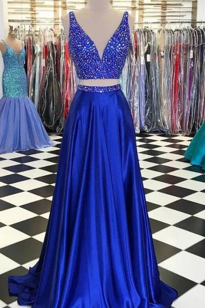 2020 Two Pieces Long Prom Dresses with Beading Fashion School Dance Dress Winter Formal Dress PDP0412