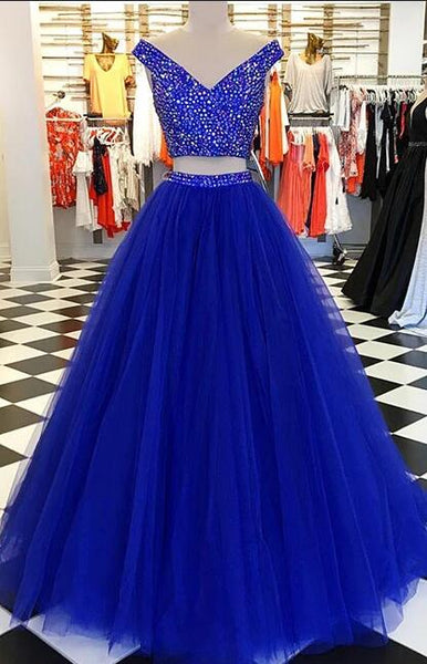 2020 Two Pieces Long Prom Dresses with Beading Fashion School Dance Dress Winter Formal Dress PDP0413