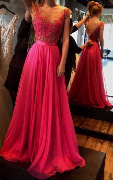 A-line Long Prom Dress With Applique and Beading,Fashion Winter Formal Dress PDP0161