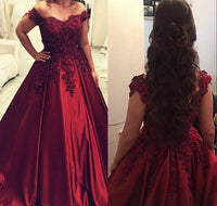 Off Shoulder Ball Gown Long Prom Dress with Applique and Beading,Fashion Dance Dress,Sweet 16 Dress PDP0236