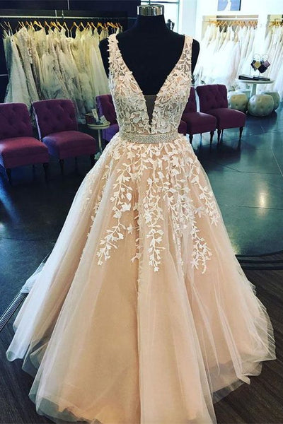 Open Back Long Prom Dress with Applique and Beading ,Fashion Dance Dress,Sweet 16 Quinceanera Dress PDP0280