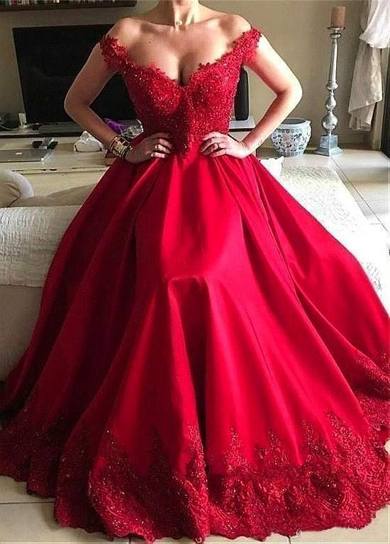 Off Shoulder Ball Gown Long Prom Dress with Applique and Beading ,Fashion Dance Dress,Sweet 16 Quinceanera Dress PDP0278