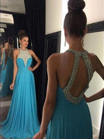 Open Back A line Long Prom Dress with Beading,Fashion Dance Dress,Sweet 16 Dress PDP0238