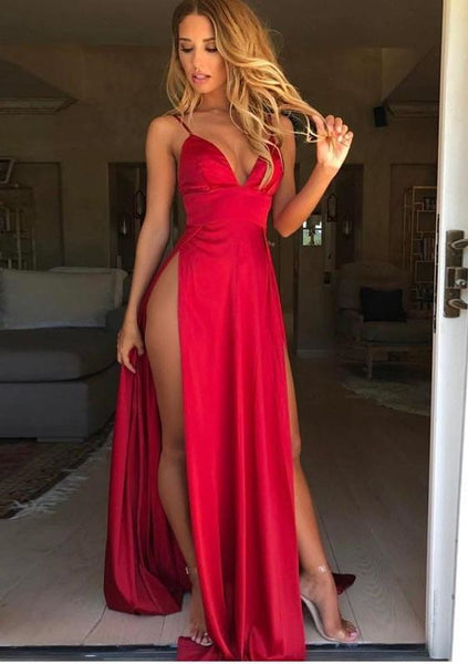Sexy Long Prom Dresses with Slit Fashion School Dance Dress Winter Formal Dress PDP0414
