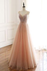 A Line Long Prom Dresses with Beading PDP0333