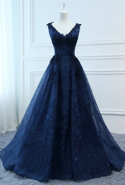 V-neck Lace Long Prom Dress With Applique and Beading,Fashion Winter Formal Dress PDP0150