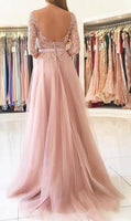Open Back Long Prom Dress with Sleeves, Popular School Dance Dress ,Fashion Wedding Party Dress PDP0077