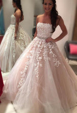 Load image into Gallery viewer, Strapless Long Prom Dresses with Applique and Beading 8th Graduation Dress School Dance Winter Formal Dress PDP0504