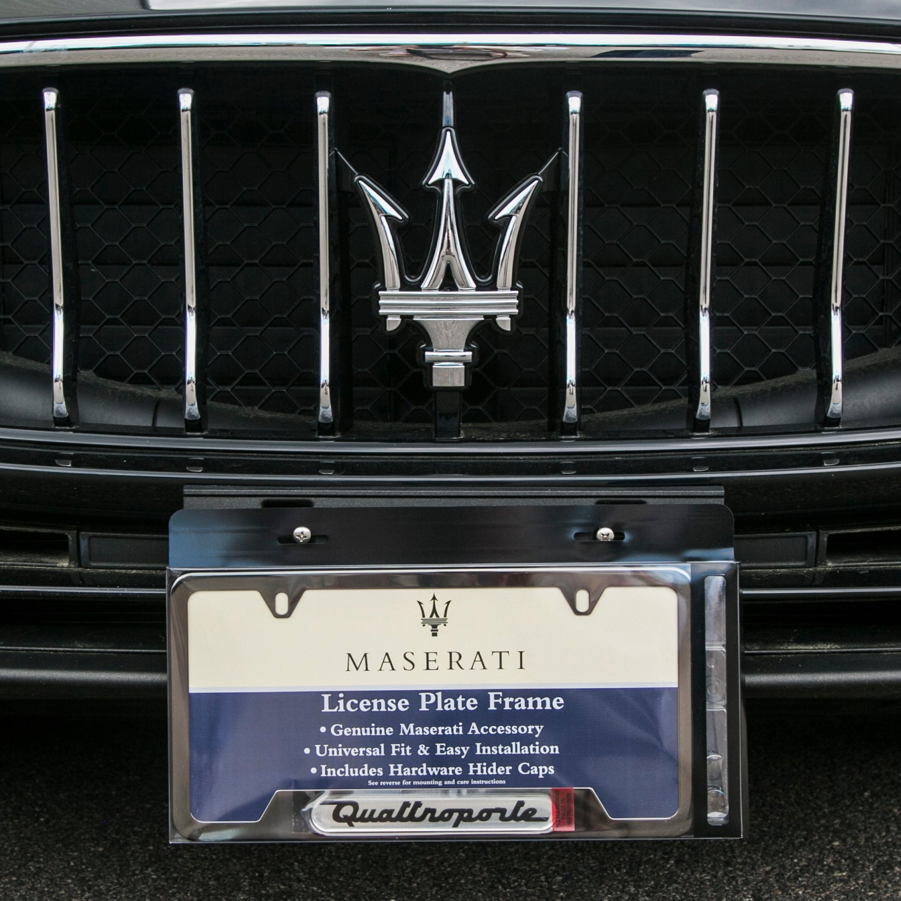 Polished Quattroporte License Plate Frame