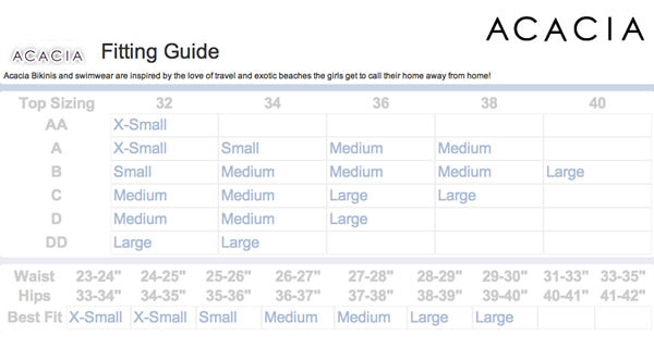 Acacia swimwear size chart be in the sea online bikini store
