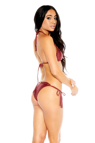 Bohemian Tie Bottom - Burgundy