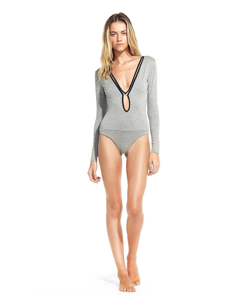 Sofia Solid Grey Piping Edgy Bodysuit