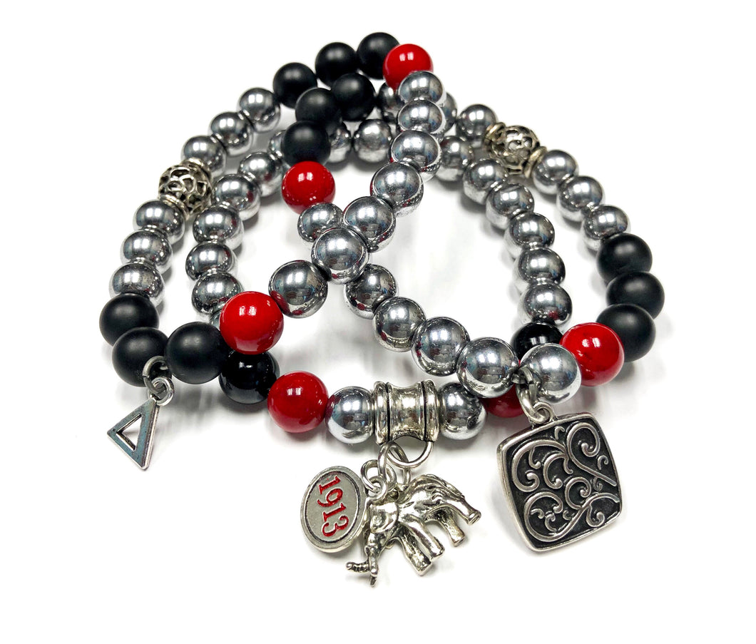 Delta Themed Bracelet Set- Hematite
