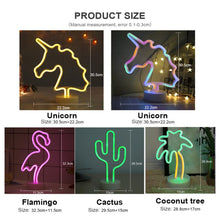 Carica l'immagine nel visualizzatore di Gallery, Rainbow Led Neon Signs Light USB 12V Flamingo Unicorn Wedding Bar Shop Window Room Home Decor Bulb For Christmas Gift Table Lamp