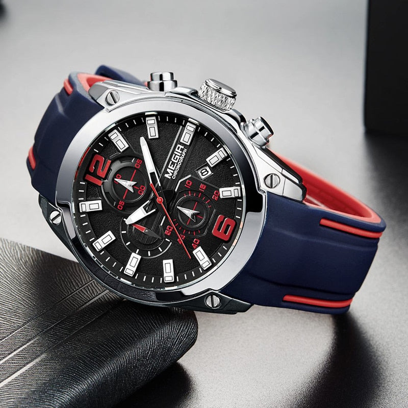 MEGIR Sport Watch Men Blue Silicone Chronograph Quartz.