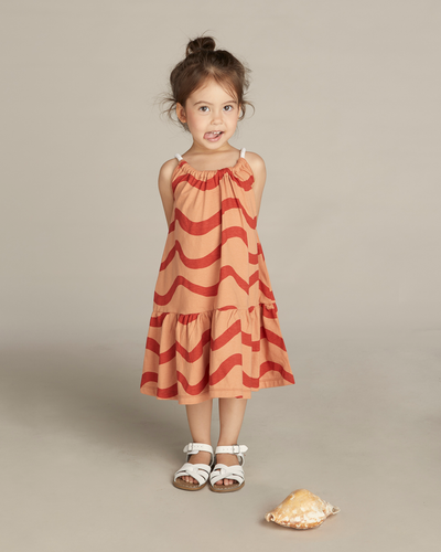 Sea Wave Sun Dress-Brick