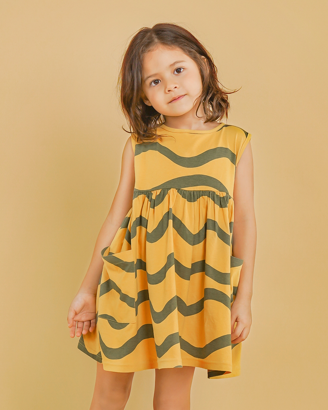 Sea Wave Dress -Yellow