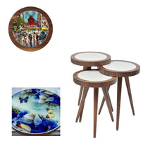 "Load image into Gallery viewer, UV Photo Print Round Coffee Table 3pcs Set Eco Friendly - indefectible 15""X15""X H:24"" Artwork Theme - Rattanglobal"