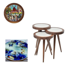 "UV Photo Print Round Coffee Table 3pcs Set Eco Friendly - indefectible 15""X15""X H:24"" Artwork Theme - Rattanglobal"