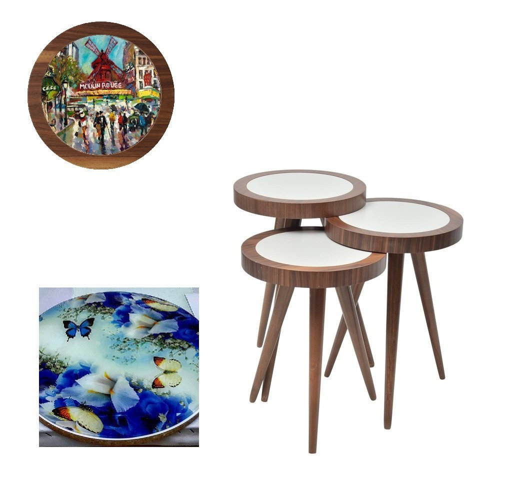 UV Photo Print Round Coffee Table 3pcs Set Eco Friendly - indefectible 15