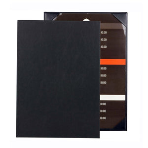 "3PCS Menu Holder Menu Cove Synthetic Leather Single Panel with Angled Corners Black - 11.4"" x 9"" (L x W) - Rattanglobal"