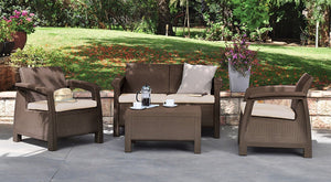 Keter Corfu 4 Piece Set All Weather Outdoor Patio Garden Furniture w/ Cushions, Brown - Rattanglobal