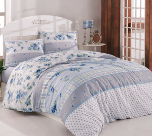 "House of Hampton Belinda Blue Reversible Duvet Set Queen (78""x87"" / 200x220cm) Bedding Linens Set 4 Pcs."